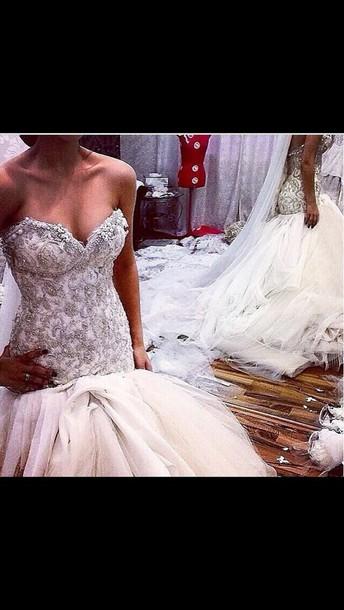 dress wedding mermaid detailed bodice sparkle