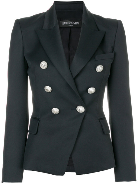 blazer women embellished cotton blue wool jacket