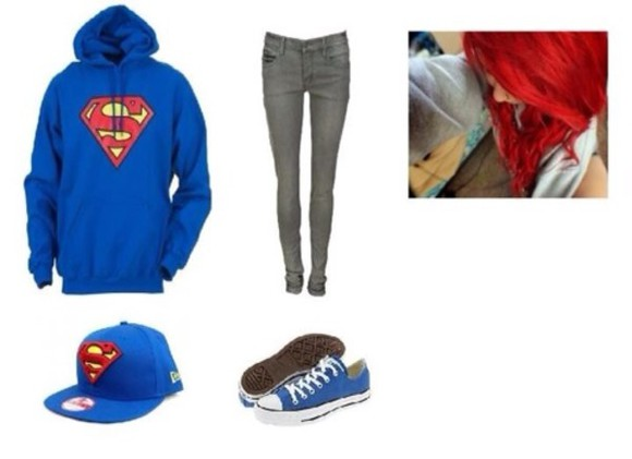 superman sweater hat blue, red,