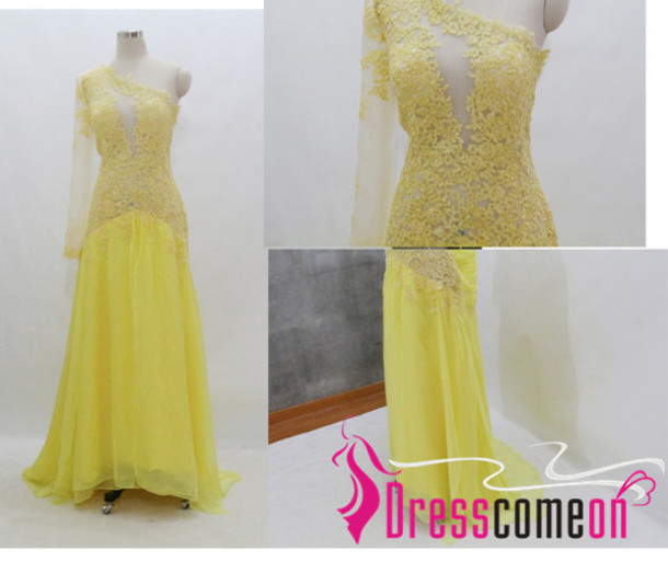 dress, yellow tulle dress, lace prom yellow, appliques long dress ...
