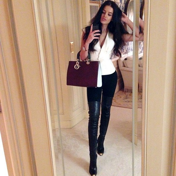 bag chic black white luxury boots shoes shirt pants