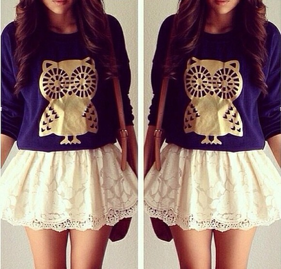 top long sleeves owl gold navy blue shirt skirt white lace cute want want want