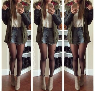 coat jacket fur coat shorts high waisted shorts denim shorts denim leather jacket leather top white top boots high heels high heels boots beige shoes beige outfit