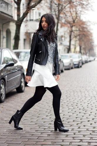 shoes leather jacket white skirt black heeled boots blogger