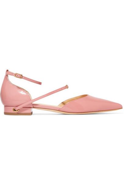 Jennifer Chamandi - Enrico Patent-leather Point-toe Flats - Pink
