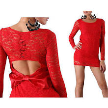 Womens Sexy Open Back Bow O Neck Lace Long Sleeve Clubbing Party Bodycon Dress