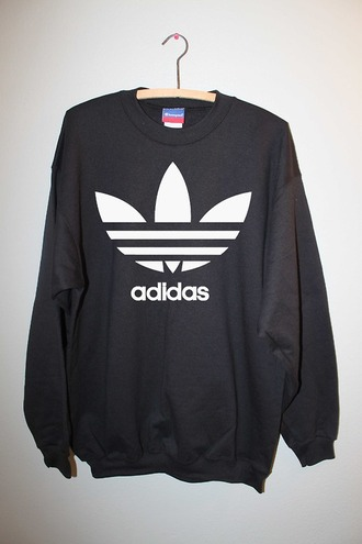 sweater adidas jumper black guys girl white sweatshirt adidas sweater logo menswear urban shirt black adidas sportswear