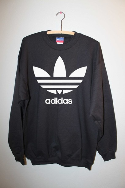 Sweater Adidas Jumper Black Guys Girl White Sweatshirt