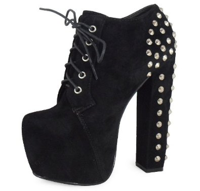 Loudlook new womens ladies black stud lace up concealed platform block heel shoes boots 3