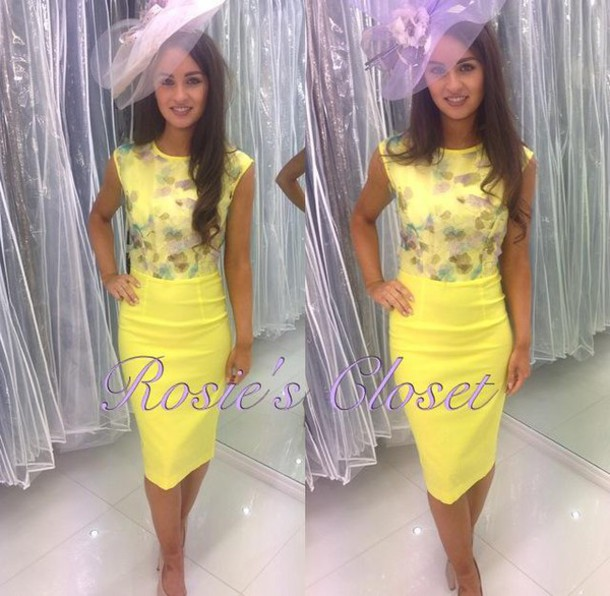 Dress Yellow Lilac Pencil Dress Wedding Guest Uk Ireland