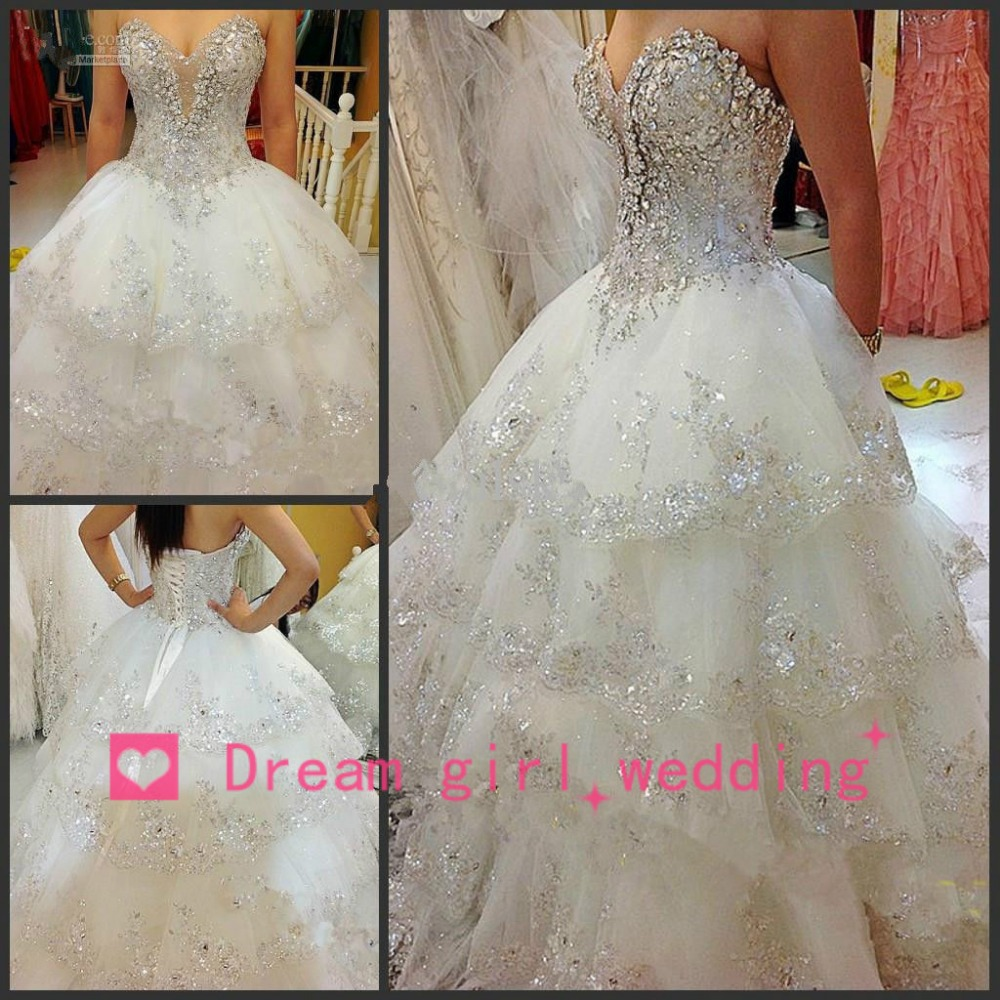 Aliexpress.com : Buy Newly Romantic Luxury Wedding Dress 2014 Sequined Beaded Top White Wedding Gowns Open Back Bridal Ball Gown With Crystals from Reliable gown bridal suppliers on Dream Girl Wedding