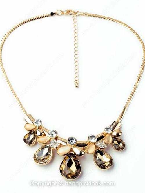 Gold Metal Round Vintage Crystal Necklace - HandpickLook.com