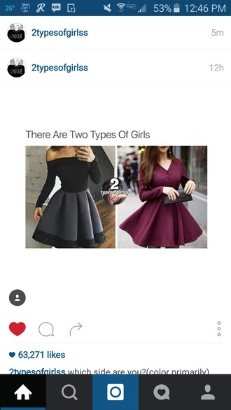 dress red dress black dress black red girly stylish long sleeve dress dressy dress fit and flare dressy fit and flare long sleeve fit and flare dress nude or burgundy or white