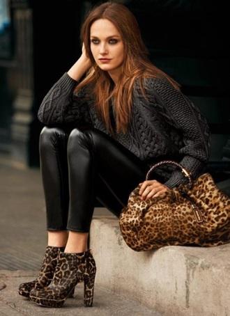 bag leopard style streetwear streetstyle winter swag sweater