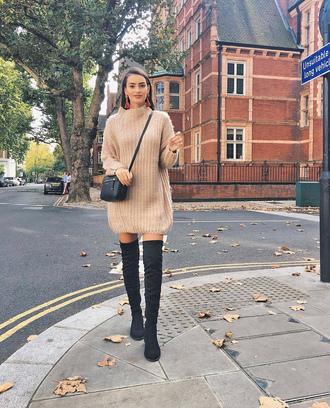 sweater tumblr sweater dress knit knitwear knitted dress boots over the knee boots over the knee bag