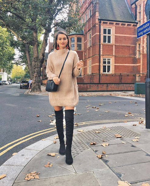 sweater tumblr sweater dress knit knitwear knitted dress boots over the knee boots over the knee bag