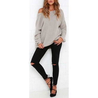 sweater cozy shirt shoes jeans laces ballet flats black grey sweater oversized sweater black pants grey