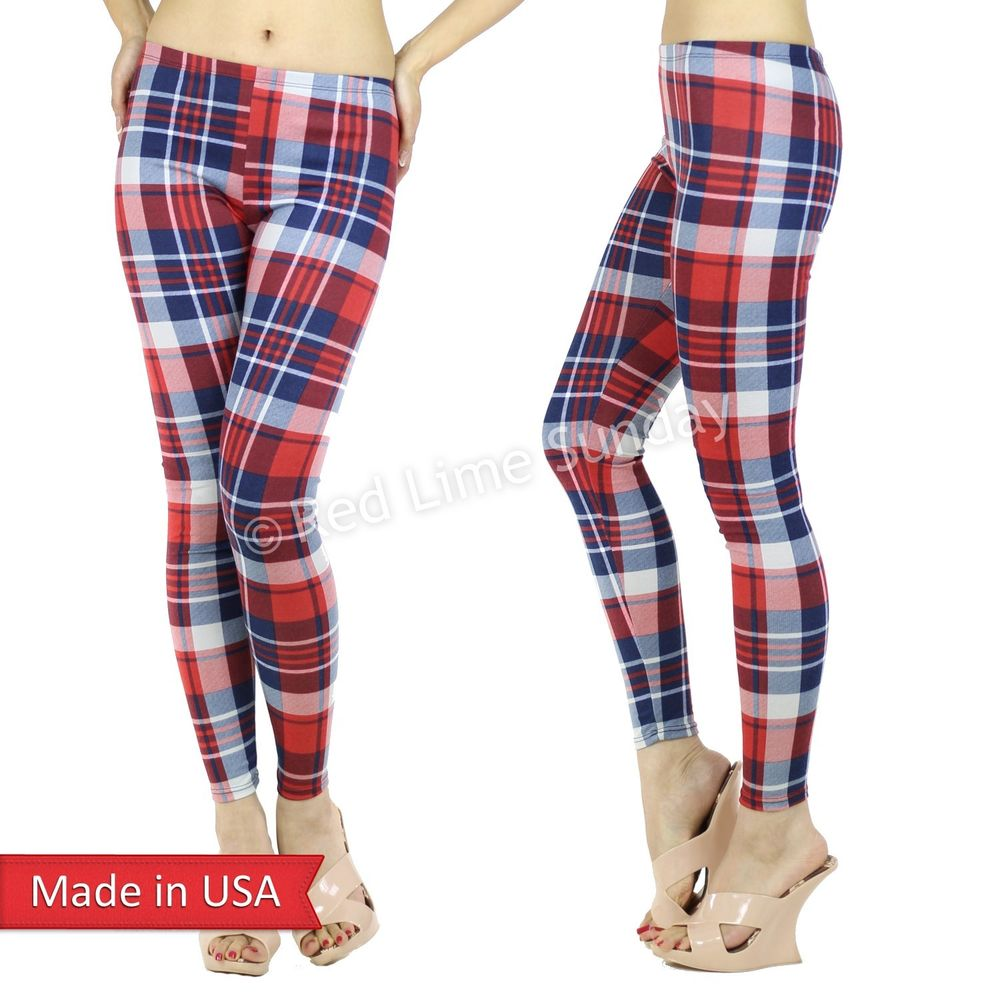 Red Navy White Plaid Tartan Check Pattern Slim Fitted Leggings Tights Pants USA