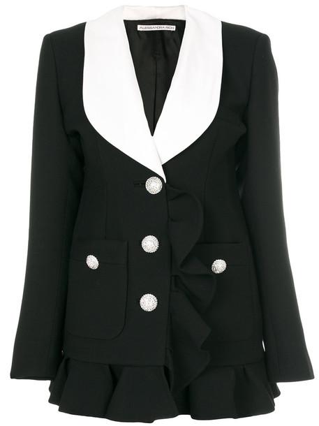 Alessandra Rich blazer ruffle women cotton black silk wool jacket