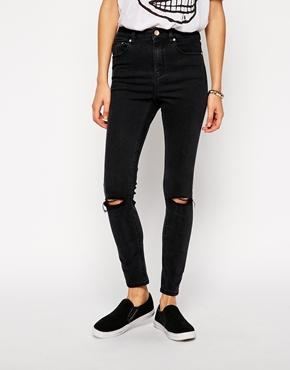 Asos ridley skinny ankle grazer jeans in washed black with ripped knees at asos
