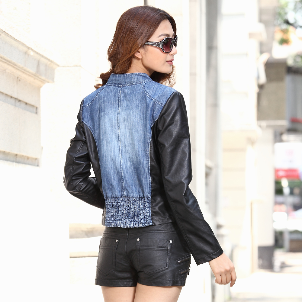 Free shipping woman PU leather jacket coat  women's outerwear zipper turn down collar short design denim short clothing-inBasic Jackets from Apparel & Accessories on Aliexpress.com