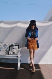 hallie daily,blogger,jacket,t-shirt,skirt,bag,belt,fall outfits,mini skirt,button up skirt,blazer,gucci t-shirt