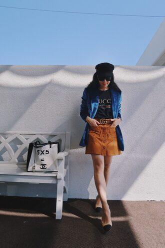hallie daily blogger jacket t-shirt skirt bag belt fall outfits mini skirt button up skirt blazer gucci t-shirt