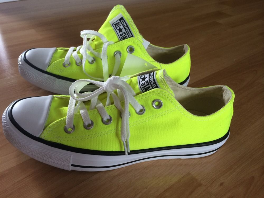 NEW Converse - All Star Chucks Neon Yellow Flats Shoes Sneakers sz 7