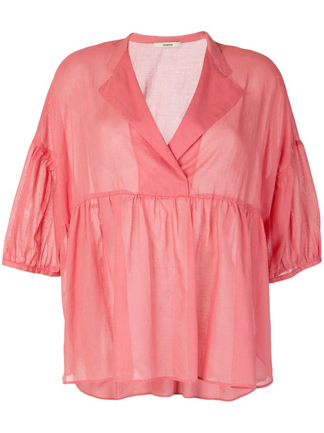 Odeeh blouse women cotton purple pink top