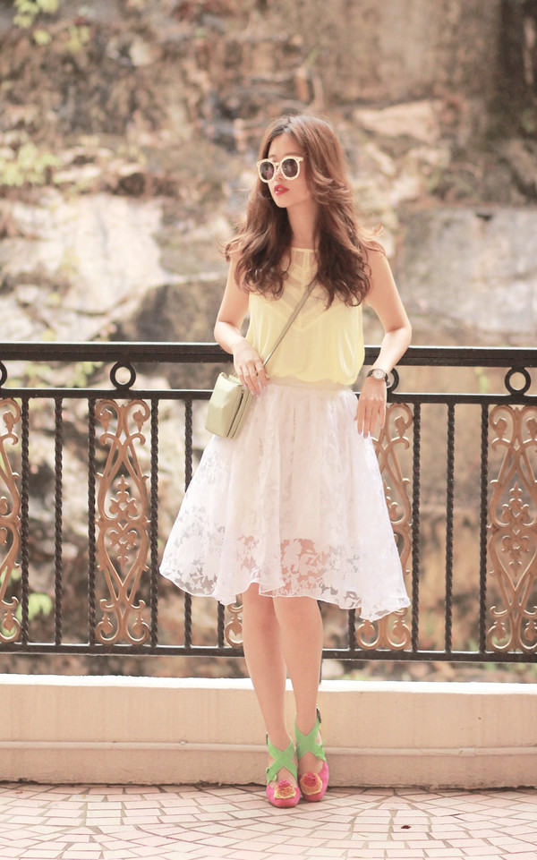 mellow mayo bag shoes sunglasses shirt skirt