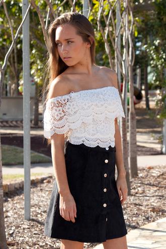 white shopfashionavenue top crochet corduroy skirt lace