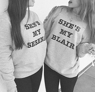 sweater gossip girl grey bff sweater/sweatshirt blair waldorf serena van der woodsen