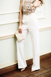 pants,tumblr,gold top,white pants,wide-leg pants,bag,pouch,studs,studded,top,sequins,gold sequins,sequin top