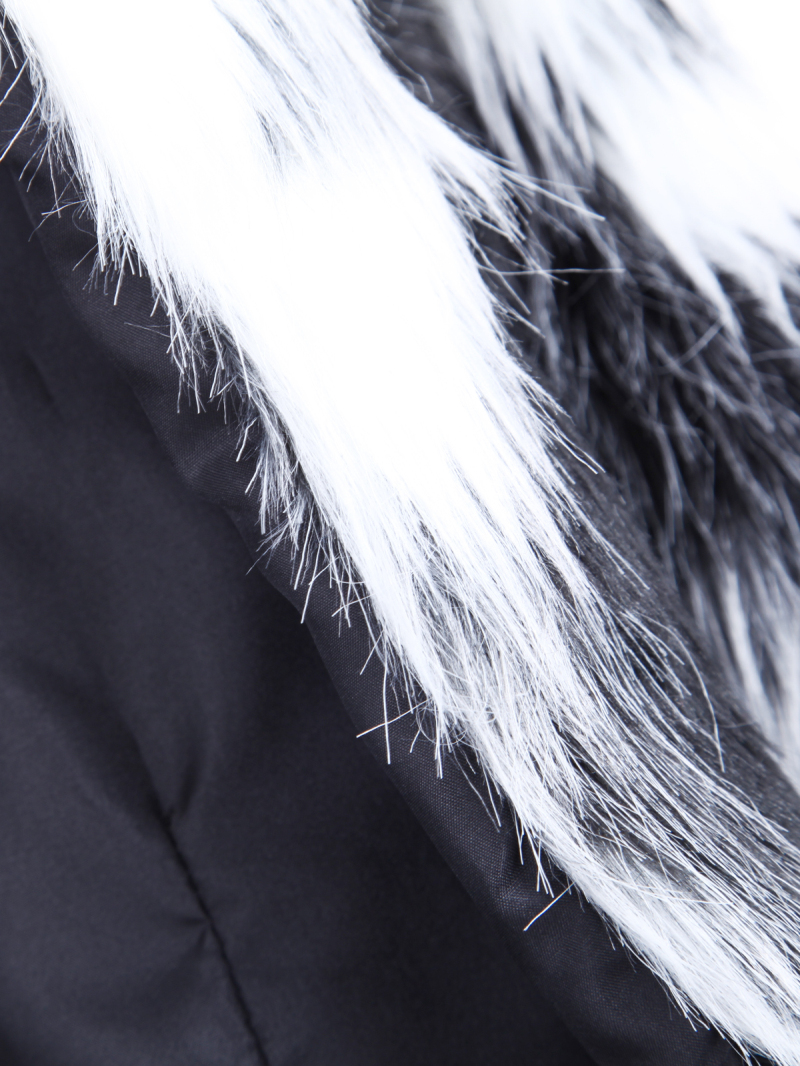 Black White Long Sleeve Crop Faux Fur Coat - Sheinside.com