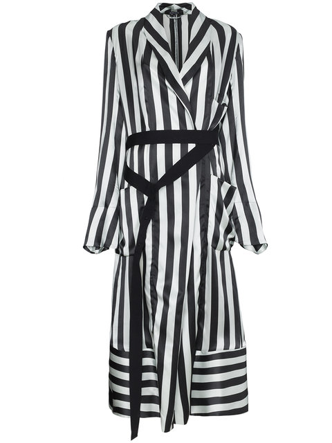 Ann Demeulemeester Stripe Long Sleeve Midi Robe Jacket - Farfetch
