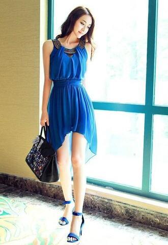 dress high low royal blue clubwear sexy new york city cali kali chiffon atl clothes california atlanta miami houston gottohaveit getu1 dime line dime line