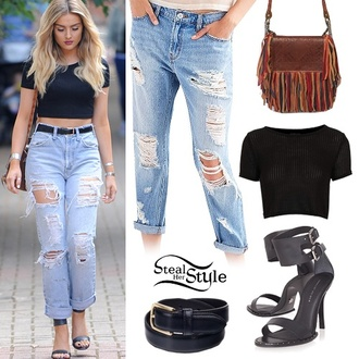 jeans perrie edwards little mix shirt boyfriend jeans ripped jeans black crop top