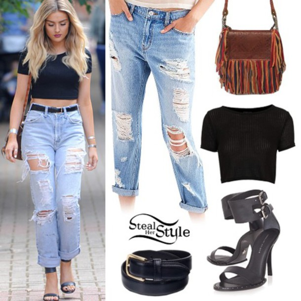 Jeans perrie edwards little mix shirt boyfriend jeans ripped jeans black crop top - Wheretoget
