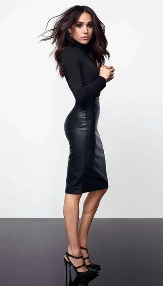 top turtleneck long sleeves pumps meghan markle midi skirt pencil skirt leather skirt faux leather bodysuit fall outfits skirt