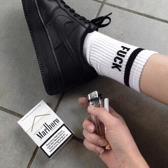 shoes nike black black nike pale black pale black shoes socks marlboro sneakers black sneakers just do it black and white tumblr pale tumblr blacke and white pale black outfits teenagers nirvana punk goth summer art cigarettes