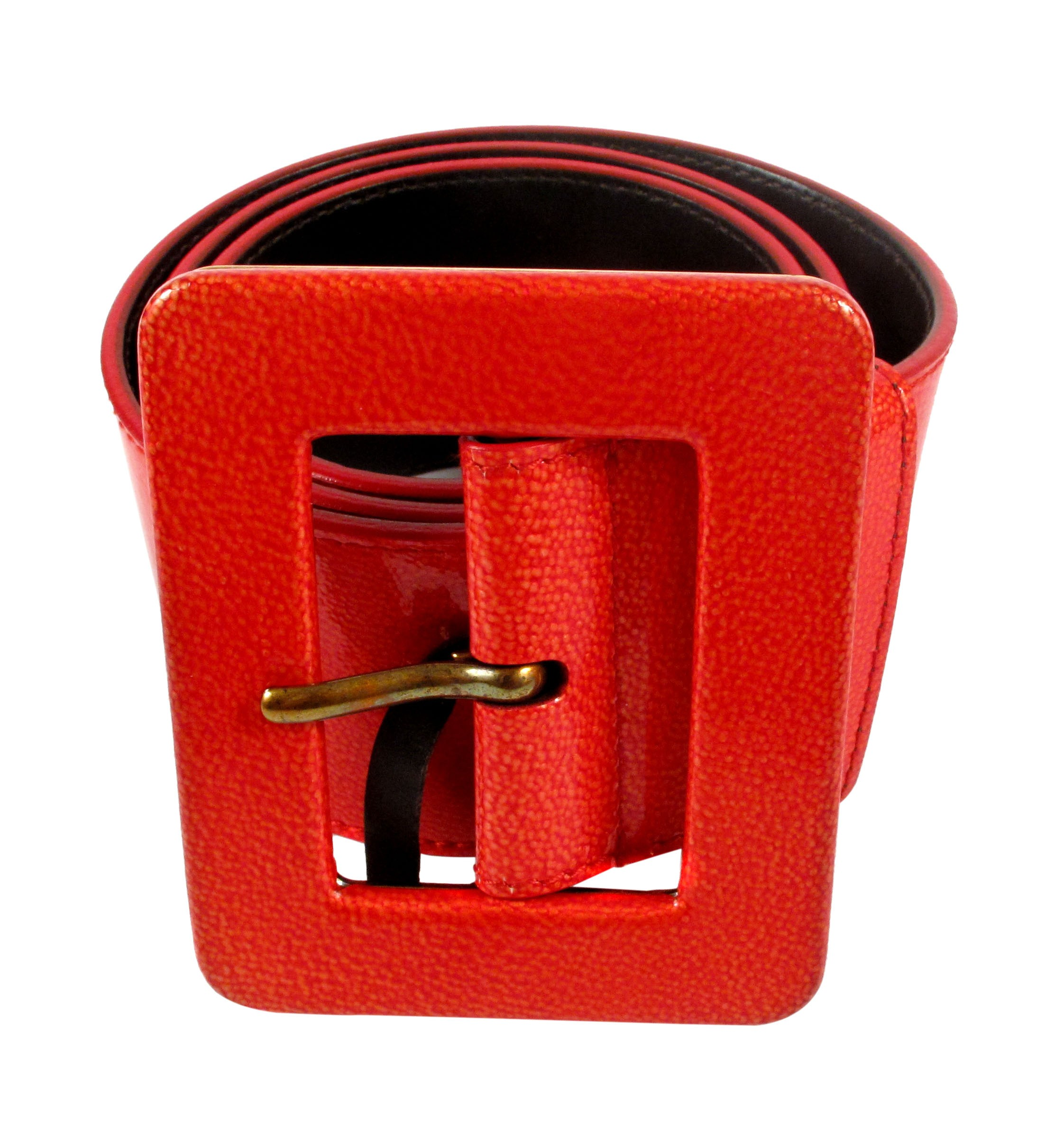 4094ebf6fcc YSL Belt - Red Patent Leather Square Buckle Gold Yves Saint Laurent