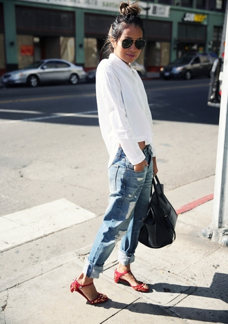 shoes red sandals sandals jeans boyfriend jeans ripped jeans shirt white shirt bag black bag sunglasses sincerely jules top blogger lifestyle aviator sunglasses summer outfits celine bag celine