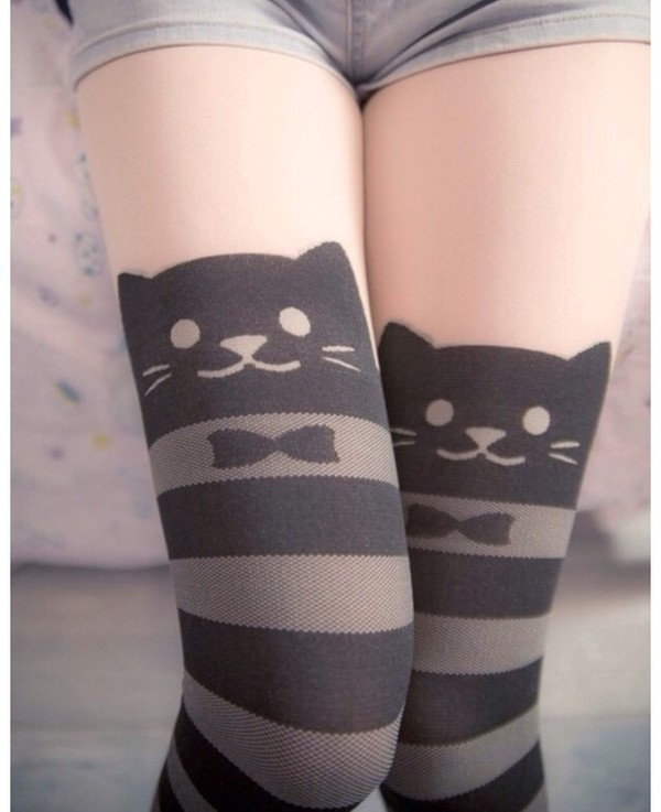 pants cats cats cats leggings tights meow cute black grey grey stripes