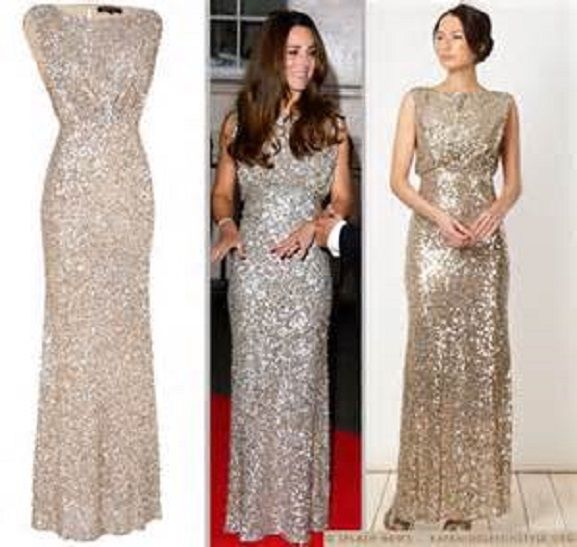 New Jenny Packham Gold Sequin Gown Dress Debenhams usa 4