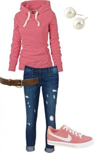 jacket nike pink brown belt ripped jeans pearl earings back to school