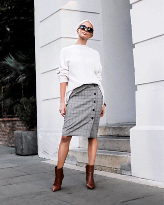 skirt white sweater brown boots tumblr midi skirt grey skirt button up button up skirt sweater knit knitted sweater boots ankle boots sunglasses