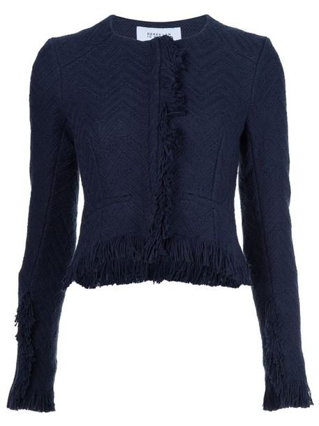 jacket cropped jacket cropped women cotton blue