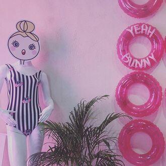 swimwear yeah bunny dog frenchie cute one piece stripes