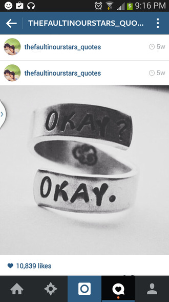 jewels the fault in our stars ring okay. john green