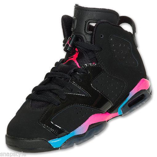 New Air Girls Jordan 6 Retro GS Black Pink Flash Marina Blue 543390 050 | eBay